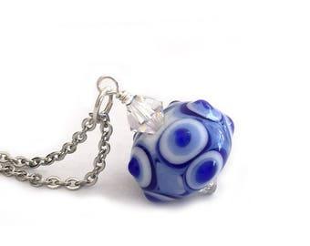 Something Blue Lampwork Pendant Necklace for Women, Teen Girls