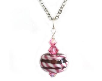 Pink Candy Stripe Pendant Necklace for Women