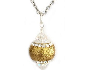 Gold Glitter Pendant Necklace for Women or Teen Girls