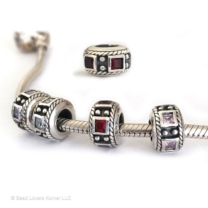 Granny Heart European Charm Bead With Birthstones For Large Hole Charm Bracelets