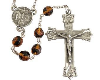 Tortoise Brown Rosary Beads for Man Handmade Catholic Gifts