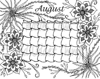 august doodled calendar coloring page