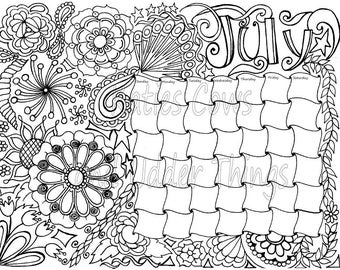 july doodled calendar coloring page