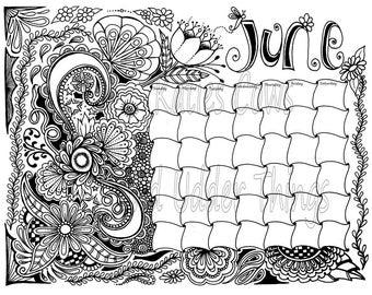 june doodled calendar coloring page