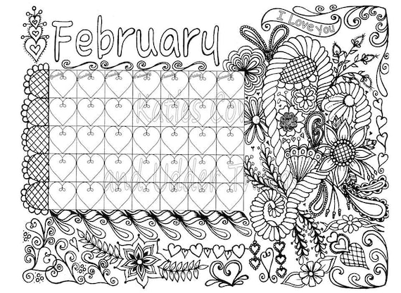 February Doodled Calendar Coloring Page