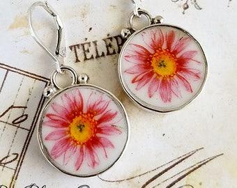 Pink Zinnias Round Broken China Jewelry Sterling Earrings