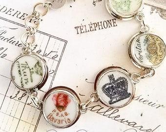 Broken China Jewelry Backstamp Crown Sterling Bracelet