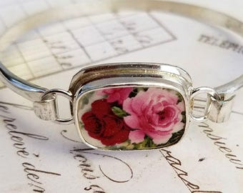 Red & Pink Roses Broken China Jewelry Sterling Bangle Bracelet