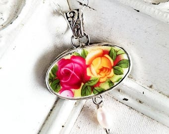 Old Country Roses Royal Albert Horizontal Oval Broken China Jewelry Porcelain Pendant Necklace