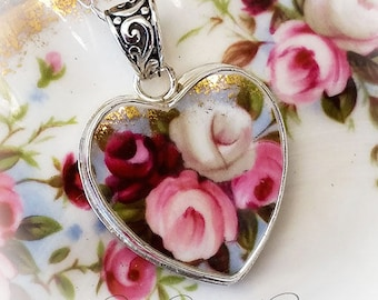 Royal Albert Cottage Garden Broken China Jewelry Heart Pendant Necklace