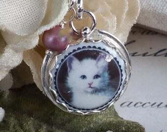 White Kitty Cat Kitten Sterling Porcelain  Charm Necklace