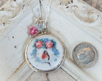 Robin Red Breast Pink Roses Wreath Crystal Pendant Necklace