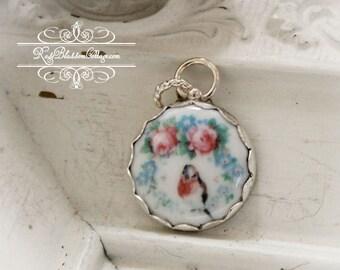 Robin and Roses  Edgeless Sterling Porcelain Charm