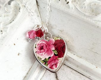 Red Pink Broken China Jewelry Crystals Pendant Necklace