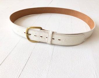 Vintage White Leather Belt Sample Sale