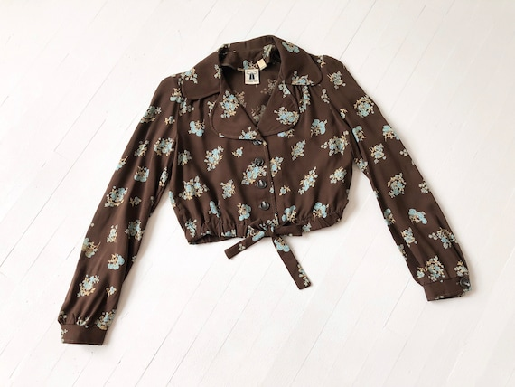 1970s-Does-1930s Brown Floral Jacket