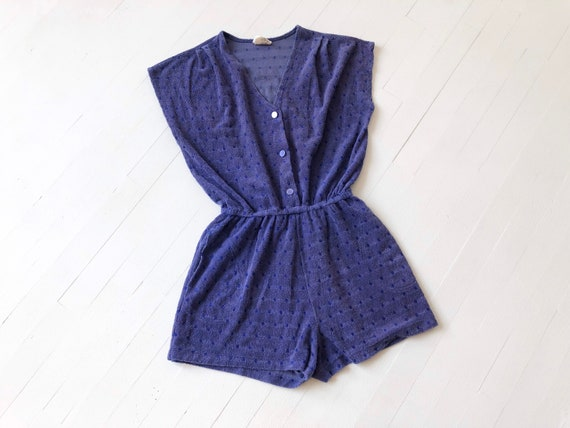 1970s Purple Dotted Terrycloth Romper