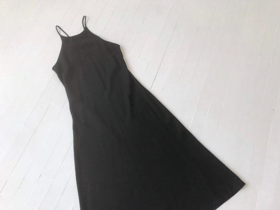 1990s Black Crepe Dress