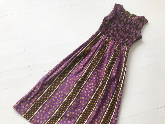 1970s Purple Floral + Polka Dot Print Maxi Dress
