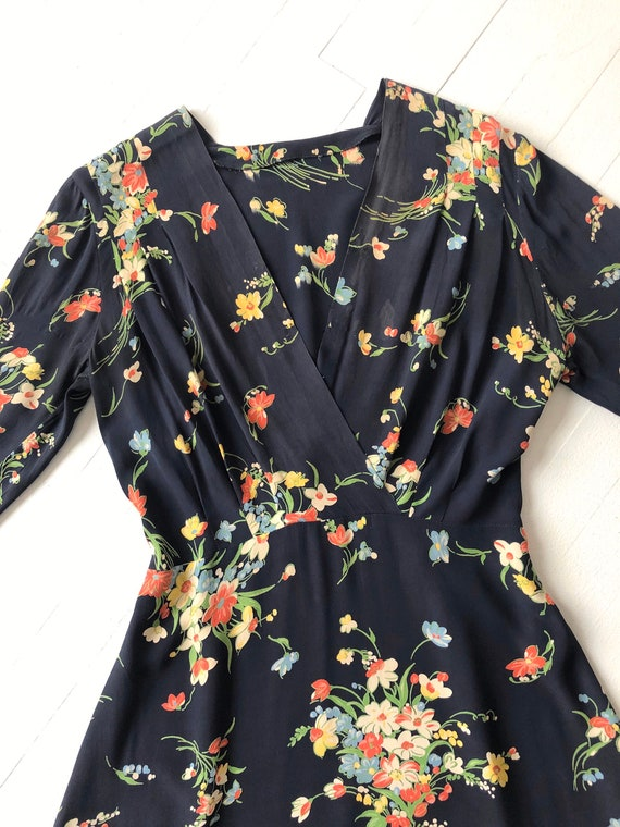 1940s Floral Rayon Dress - image 2