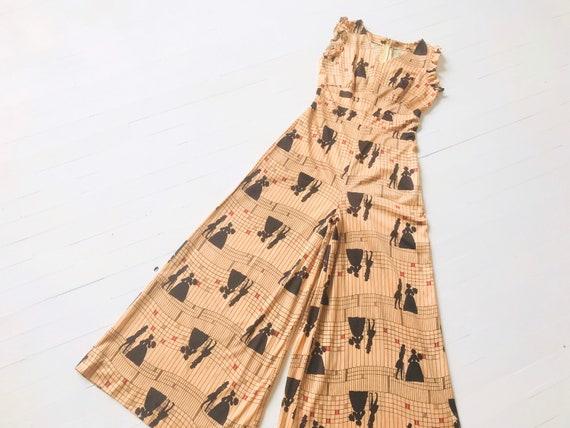 1970s Victorian People Print Wide Leg Jumpsuit
