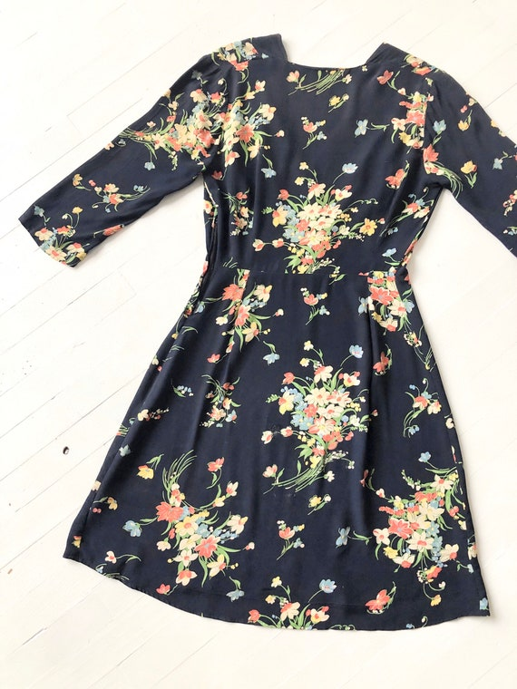 1940s Floral Rayon Dress - image 5