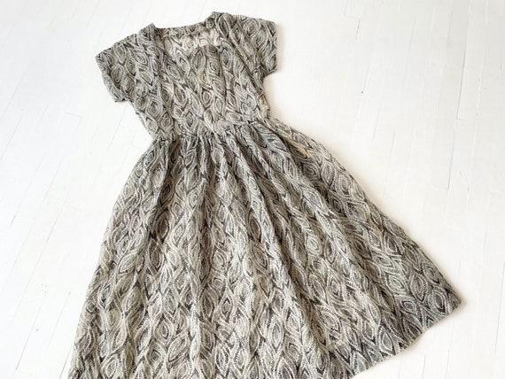1950s Printed Sheer Chiffon Dress - image 8