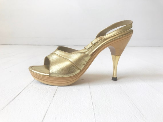 1960s Gold Leather Platform Sandals