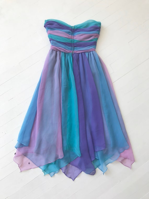 1980s-Does-1950s Pastel Colorblock Chiffon Dress - image 5