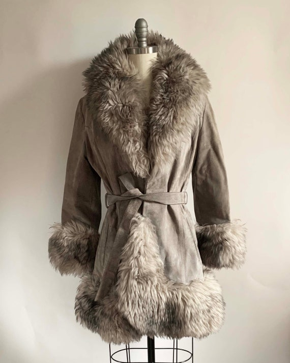 1970s Grey Suede and Shearling Coat