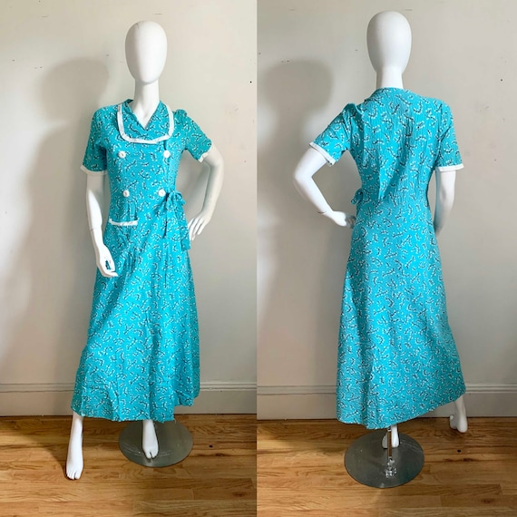 Late 1930s Seersucker House Dress