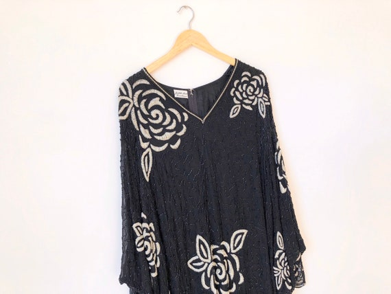 1980s Beaded Silk Dress