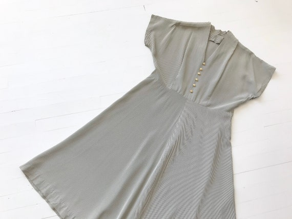 1940s Hickory Striped Dress with Pearl Buttons