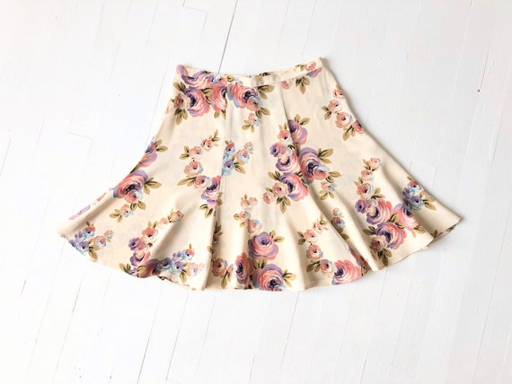 1990s Betsey Johnson Floral Skirt