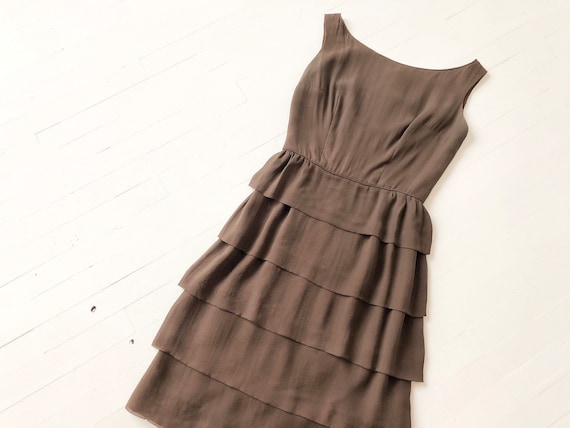 1950s Tiered Brown Silk Dress