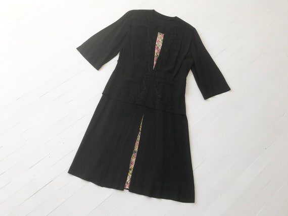 1930s Black Soutache Day Dress