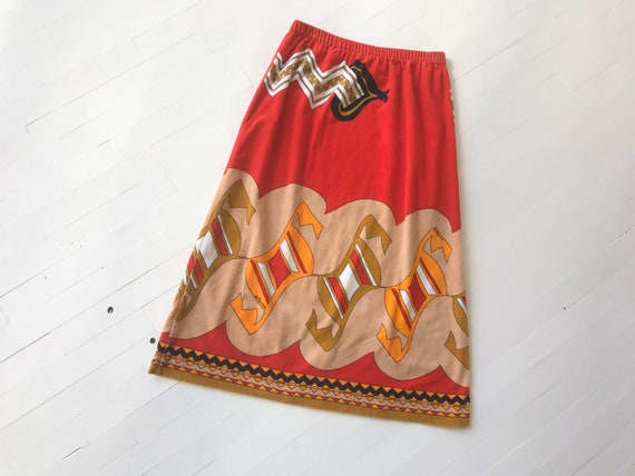 1980s Velveteen Skirt with Paganne Fabric