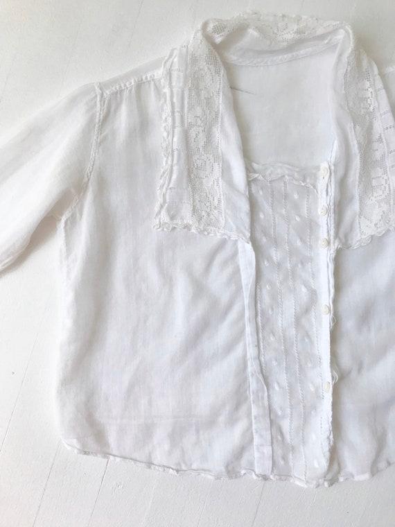 Antique Victorian White Cotton Lace Blouse - image 2
