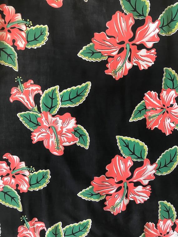 1940s Hibiscus Print Rayon Dress - image 7