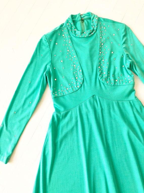 1960s Green Rhinestone Gown