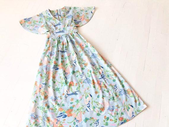 1970s Blue Deco Lady Print Maxi Dress