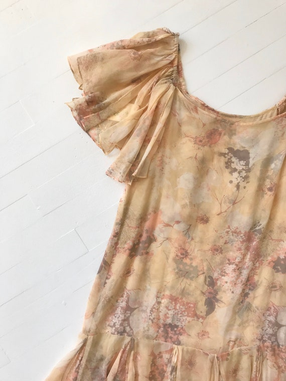 1970s-Does-1920s Silk Chiffon Floral Ruffled Dress - image 2