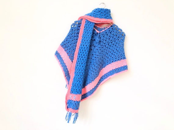 1970s Knit Poncho + Matching Scarf