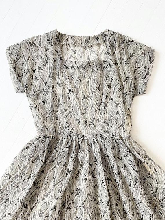 1950s Printed Sheer Chiffon Dress - image 2