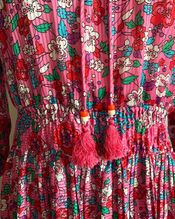 1980s Diane Freis Pink Pleated Dress - image 7