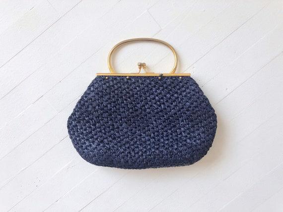 1950s Navy Raffia Top Handle Bag