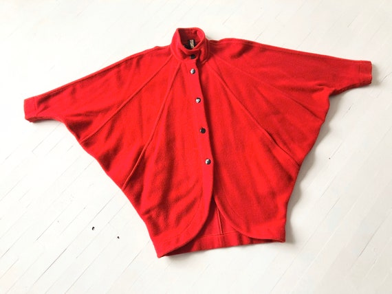 1980s Escada Red Wool Batwing Coat