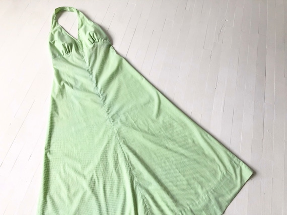 1970s Mint Green Dotted Maxi Dress