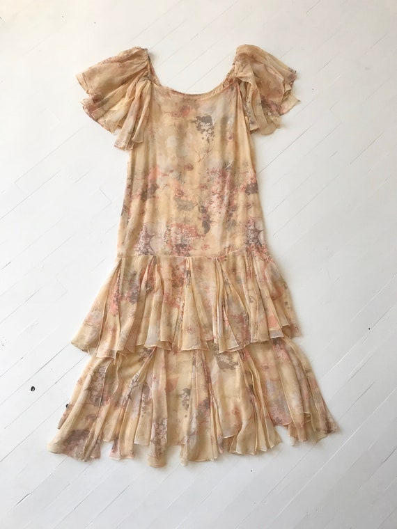 1970s-Does-1920s Silk Chiffon Floral Ruffled Dress - image 4