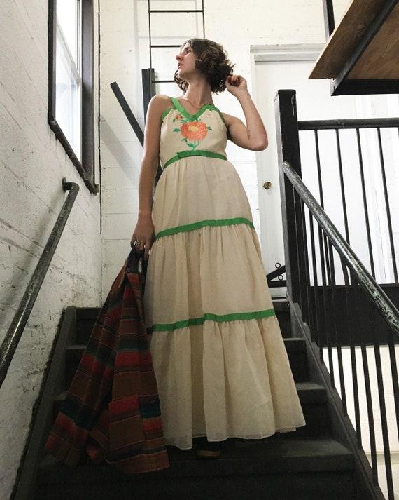1970s Tiered Ribbon Dress